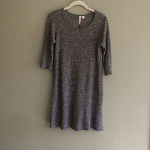 Gray Ribbed Swing Dress